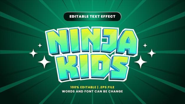 Редактируемый текстовый эффект ninja kids в современном 3d стиле