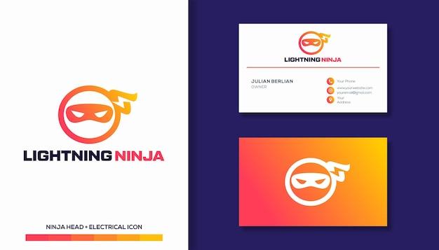 Ninja and lightning logo design