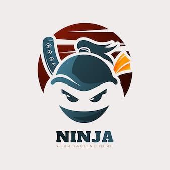 Modello di logo ninja in sfumatura