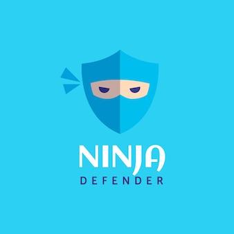 Шаблон логотипа ниндзя в плоском дизайне