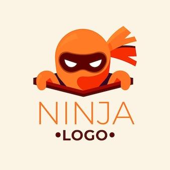 Шаблон логотипа ниндзя в плоском стиле