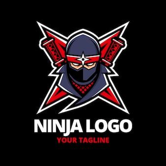 Шаблон логотипа ниндзя с деталями