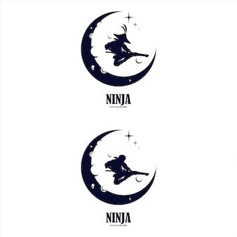 Логотип ниндзя с разными деталями Premium векторы