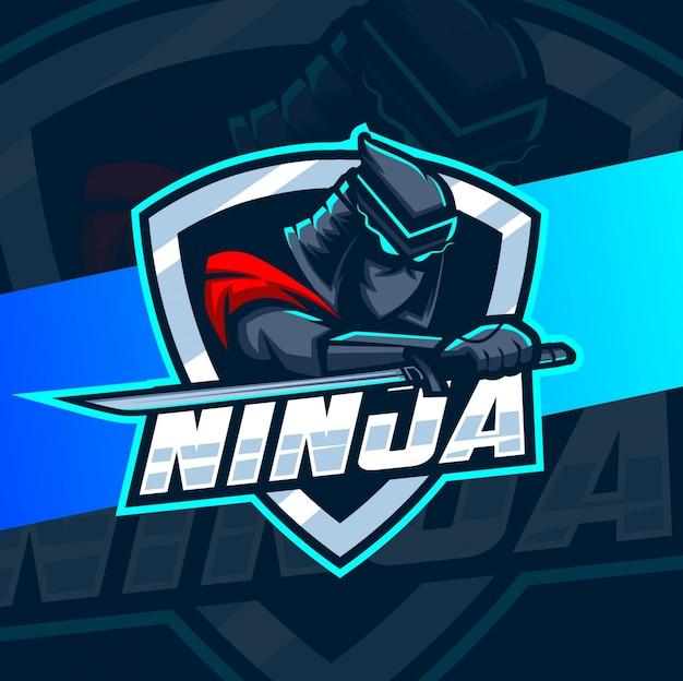 Ниндзя талисман киберспорт дизайн логотипа