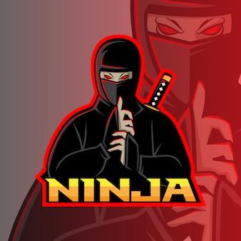 Ниндзя талисман esport дизайн логотипа