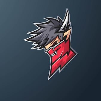 게임, e 스포츠, youtube, 스 트리머 및 트 위치를위한 닌자 마스코트 로고 디자인