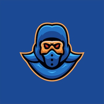닌자 마스크 머리 만화 로고 템플릿 그림입니다. e스포츠 로고 게임 프리미엄 벡터