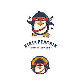 Ninja penguin concept illustration vector template