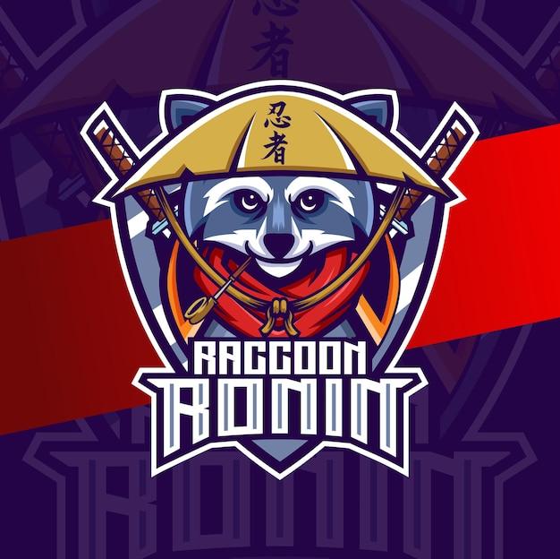 Ниндзя енот талисман киберспорт дизайн логотипа персонаж