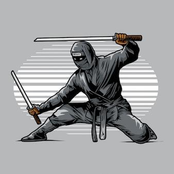 Ninja ready to strike in shadow
