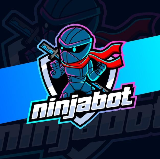 Дизайн логотипа талисмана робота ниндзя