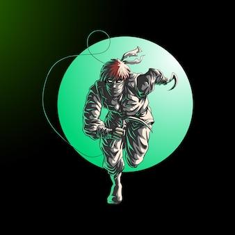 Ниндзя запустить атаку действия в круге, изолированном на черном