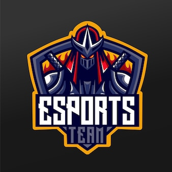 Дизайн спортивной иллюстрации талисмана ниндзя-самурая для логотипа команды esport gaming team squad