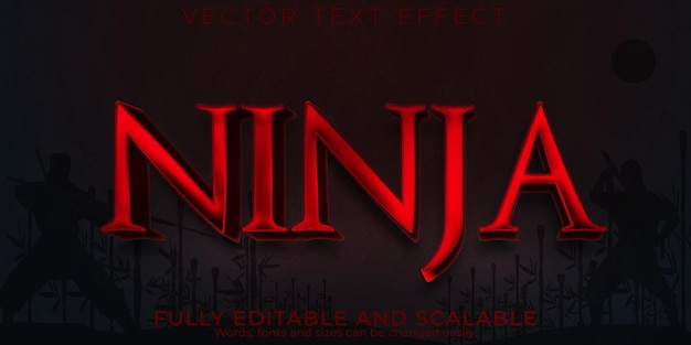 Текстовый эффект ниндзя самураев редактируемый стиль текста кунг-фу и воин
