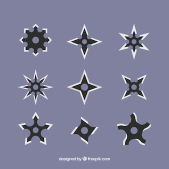 Коллекция звезд ниндзя с плоским дизайном
