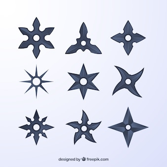 Collezione di stelle ninja in colore grigio