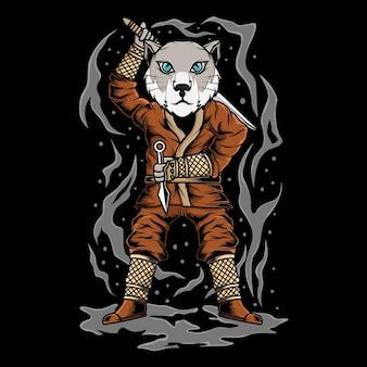 닌자 스타일의 고양이 일러스트