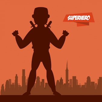 Ninja superhero cartoon on city silhouette