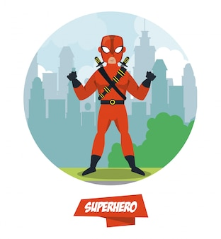 Ninja superhero cartoon on city
