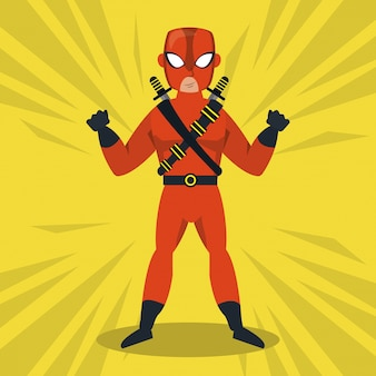 Ninja superhero cartoon icon