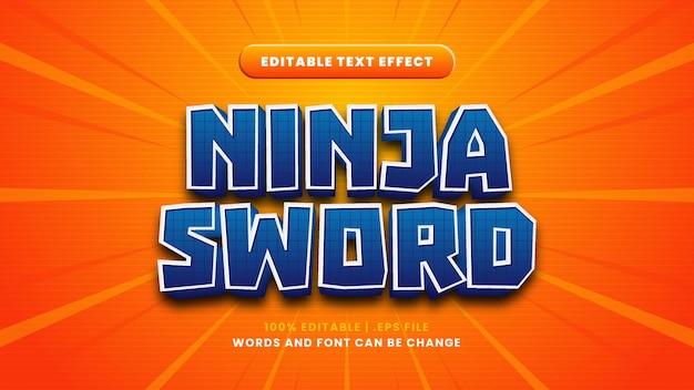 Редактируемый текстовый эффект меч ниндзя в современном 3d стиле