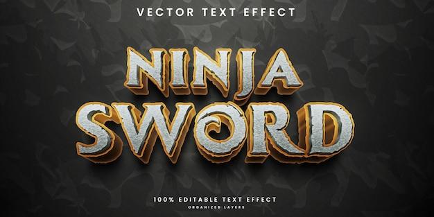 Редактируемый текстовый эффект меч ниндзя