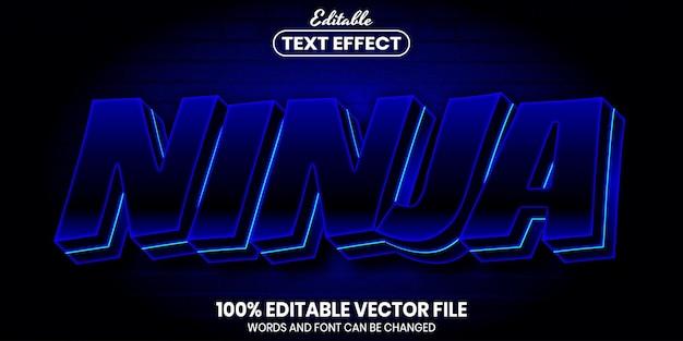 Ninja text, font style editable text effect