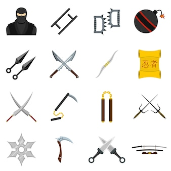 Ninja tools icons set in flat style