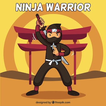 Ninja warrior background in flat design