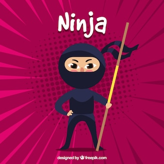 Ninja warrior background with flat design