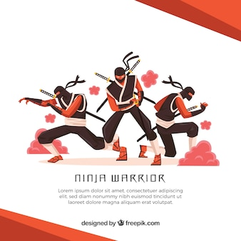 Ninja warrior background with flat design