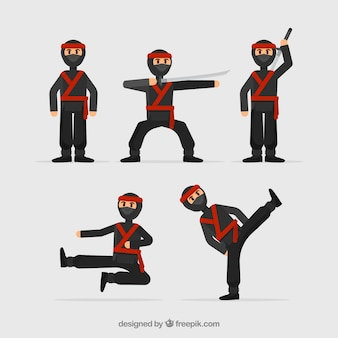 Ninja warrior character collection with flat design