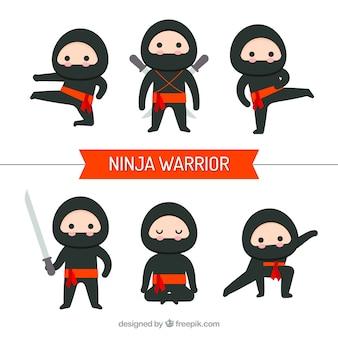 평면 디자인의 닌자 전사 캐릭터 컬렉션