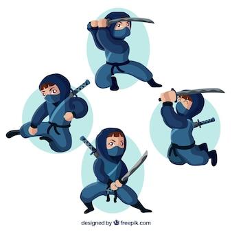 Коллекция воинов ниндзя с плоским дизайном