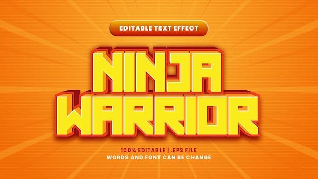 Редактируемый текстовый эффект воина ниндзя в современном 3d стиле