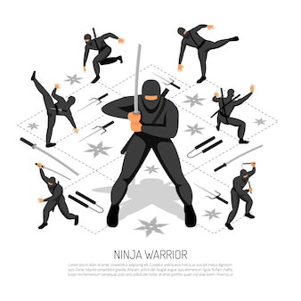 Ninja warrior unbeatable stickman character in various action poses isometric interactive video game vector illustration