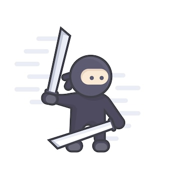 Ниндзя с мечами катана в руках, плоский стиль с контуром над белой