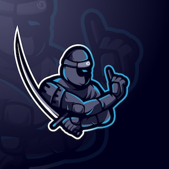 Ninja with sword for gaming, team or sports