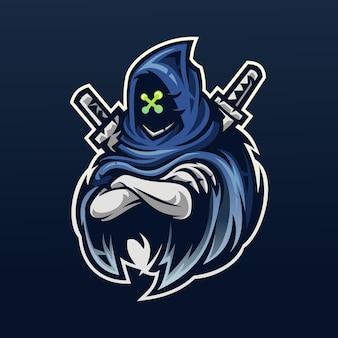 Талисман ниндзя с мечом для киберспорта и спортивного логотипа
