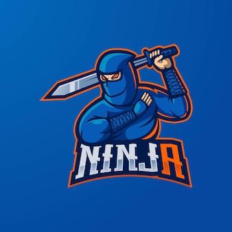 Esport 또는 게임을위한 칼, 마스코트 로고 디자인 벡터가있는 닌자