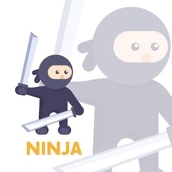Ниндзя с мечами в руках в плоском стиле, векторные иллюстрации Premium векторы