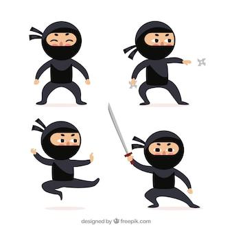 Коллекция персонажей ниндзя с разными позами