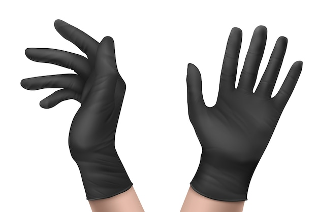 Nitrile gloves on hand front and side view. black rubber disposable latex personal protective equipment for health or laboratory workers isolated on white background, realistic 3d illustration