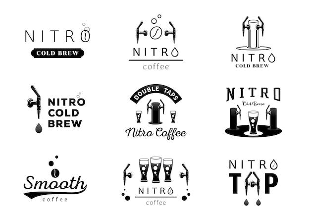 Nitro cold brew coffee logo design Premium Vector