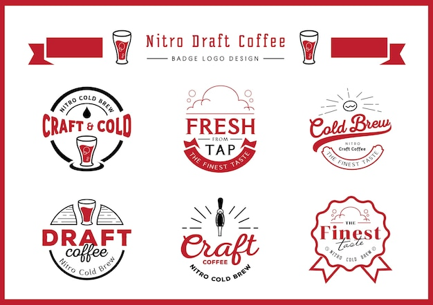 Nitro draft coffee badge logo design set Premium Vector