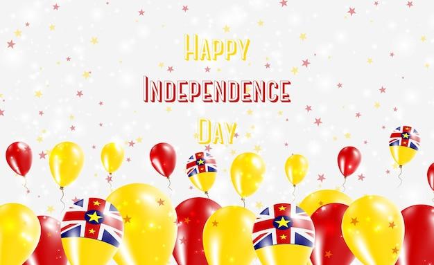 ニウエ独立記念日愛国デザイン。ニウエのナショナルカラーの風船。幸せな独立記念日ベクトルグリーティングカード。