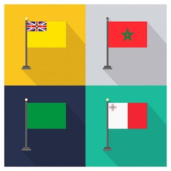 Niue morocco libya and malta flags