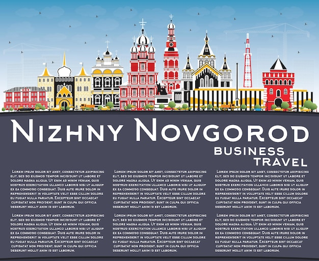 Nizhny novgorod russia city skyline with color buildings blue sky and copy space vector