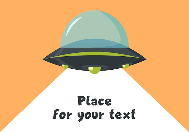 Nlo flying spaceship in flat design. alien space ship in cartoon style. ufo isolated on background. futuristic unknown flying object. illustration place for your text.