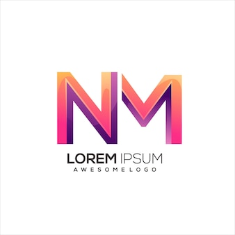 Nm letter initial logo gradient colorful abstract